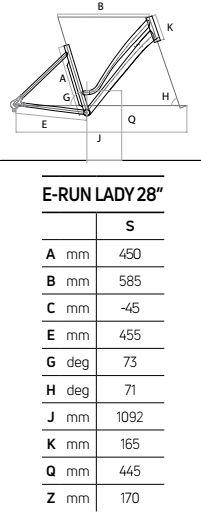 Atala E-RUN 7.1 LADY 28″ 500 geometrie