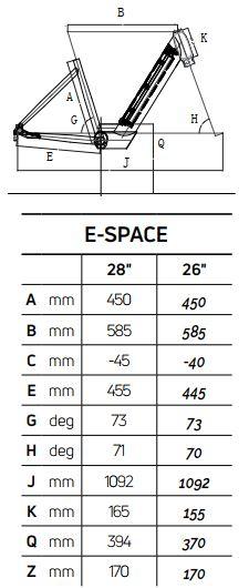 Atala E-SPACE 7.1 26″ geometrie