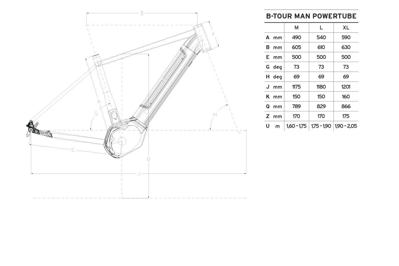 Atala B-Tour SL Man geometrie